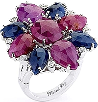 Michael M. Sapphire & Diamond Flower Cocktail Ring