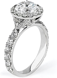 Michael M. Single Row Pave Diamond Engagement Ring
