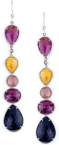 Michael M. Sterling Silver Sapphire Drop Earrings