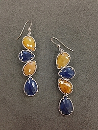 Michael M Sterling Silver Sapphire Earrings