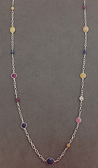 Michael M Sterling Silver Sapphire Necklace 36""