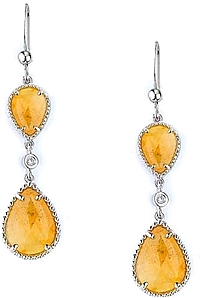 Michael M. Sterling Silver Yellow Sapphire Drop Earrings
