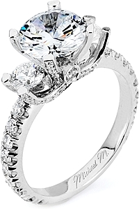 Michael M. Three Stone Diamond Engagement Ring