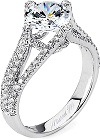 Michael M. Triple Row Pave Diamond Engagement Ring