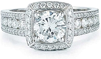 Pave & Channel Set Halo Diamond Engagement Ring