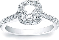 Pave Cushion Halo Engagement Ring w/ Pave Band
