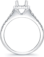 This image shows the setting made to fit a 1.00ct cushion cut diamond. The setting can be ordered to accommodate any shape/size diamond listed in the setting details section below.