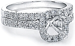 This image shows the setting made to fit a 1.00ct cushion cut diamond. The setting can be ordered to accommodate any shape/size diamond listed in the setting details section below. (matching wedding band sold separately).
