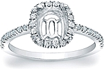 This image shows the setting with a basket made to hold a 1.50ct cushion cut center diamond. The setting can be ordered to accommodate any shape/size diamond listed in the setting details section below.