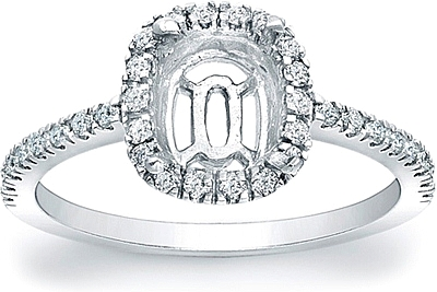 Pave Diamond Halo Engagement Ring For A Cushion Cut Center Stone