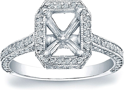 This image shows the setting with a basket made to hold a 1.50ct radiant cut center diamond. The setting can be ordered to accommodate any shape/size diamond listed in the setting details section below.