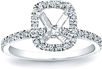This image shows the setting with an empty basket meant for a cushion cut center diamond. The setting can be ordered to accommodate any shape/size diamond listed in the setting details section below.