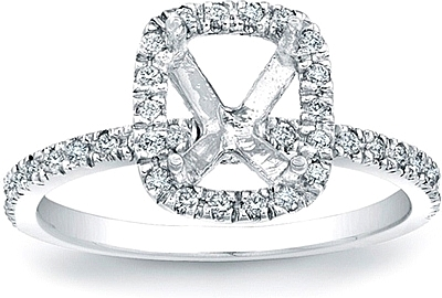 Pave Diamond Halo Engagement Ring SCS1295B