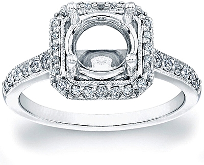 This image shows the setting with a basket made to hold a 1.25ct round brilliant cut center diamond. The setting can be ordered to accommodate any shape/size diamond listed in the setting details section below.