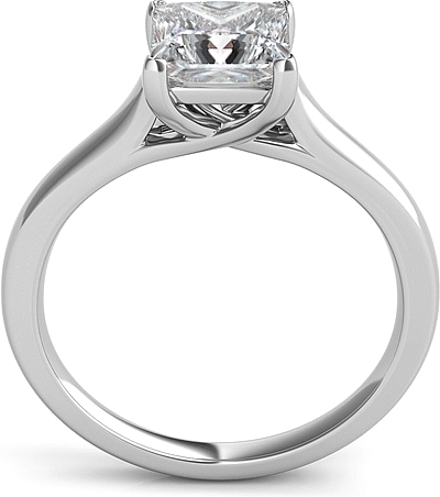 Petite Trellis Princess Cut Solitaire Diamond Engagement