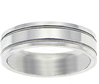 Platinum Flat 6mm Milgrain Wedding Band WBKP03PT