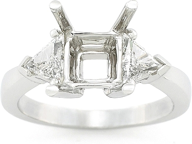 This image shows the setting with a basket made for 1.00ct round brilliant cut diamond. The setting can be ordered to accomodate any size/shape diamond listed on the setting details section below.
