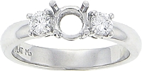Platinum Three Stone Diamond Setting 1/4ct tw