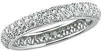Platinum Two Row Pave Diamond Band -.77ctw