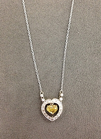 Platinum Yellow Diamond Heart Pendant