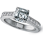 This image shows the setting with an asscher center diamond. The setting can be ordered to accommodate any shape/size diamond listed in the setting details section below.