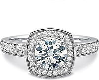 Precision Set Double Row Diamond Engagement Ring