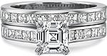 This image shows the setting with a 1.00ct asscher cut center diamond. The setting can be ordered to accommodate any shape/size diamond listed in the setting details section below. Shown with the matching wedding band; Sold separately.