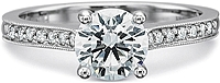 Precision Set Flush Fit Milgrain Diamond Engagement Ring