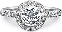Precision Set French Cut Halo Diamond Engagement Ring