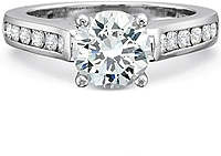 Precision Set Graduated Channel Set Diamond Engagement Ring
