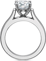This image shows the setting with a 2.00ct round brilliant cut center diamond. The setting can be ordered to accommodate any shape/size diamond listed in the setting details section below.