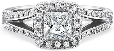 This image shows the setting with a .50ct princess cut center diamond. The setting can be ordered to accommodate any shape/size diamond listed in the setting details section below.