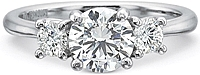Precision Set Three Stone Diamond Engagement Ring Setting