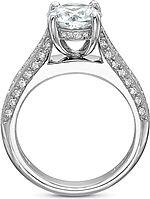 This image shows the setting with a 1.00ct round brilliant cut center diamond. The setting can be ordered to accommodate any shape/size diamond listed in the setting details section below.