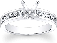 Princess cut Channel Set Diamond Engagement Ring