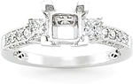This image shows the setting with a basket made for a 1.25ct princess cut diamond.  The setting can be ordered to accomodate any shape/size diamond listed on the setting details section below.