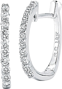 Roberto Coin Oval Diamond Hoop Earrings