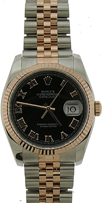ROLEX ROSE GOLD AND STAINLESS STEEL DATEJUST - MENS