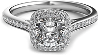 Rolled Cushion Halo Diamond Engagement Ring
