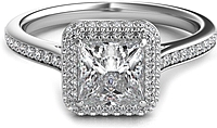 Rolled Princess Halo Diamond Engagement Ring