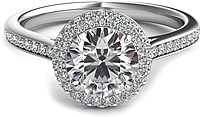 Rolled Round Halo Diamond Engagement Ring