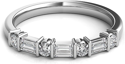 Round & Baguette Diamond Wedding Band SNTWBAP118A