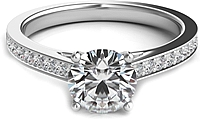 Round Brilliant Cathedral Pave Diamond Engagement Ring