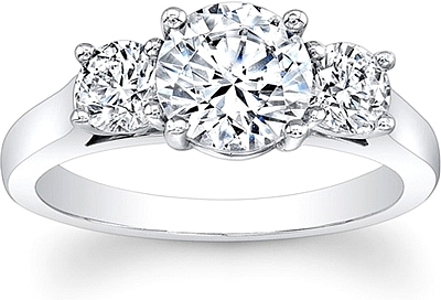 Round brilliant cut 3 stone diamond engagement ring scs1224c this image shows the setting with a 100ct round brilliant cut center diamond the setting can be ordered to accommodate any shapesize diamond listed in junglespirit Gallery
