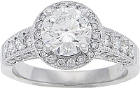 Round Brilliant Pave Diamond Halo Setting