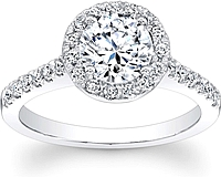 Round Pave Halo Diamond Engagement Ring