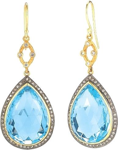 Sara Weinstock 18k Yellow Gold Sterling Silver Blue Topaz Diamond Drop Earrings