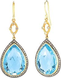 Sara Weinstock 18k Yellow Gold  & Sterling Silver Blue Topaz & Diamond Drop Earrings