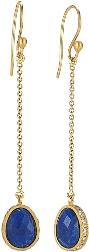 Sara Weinstock 18k Yellow Gold Diamond & Lapis Drop Earrings