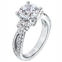 Scott Kay 1.06ct Split Shank Pave Engagement Ring for a larger center diamond